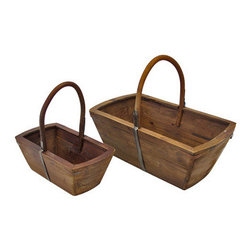 Pair of Nesting Wooden Baskets - This pair of rustic wooden baskets adds a decorative, yet practical, accent to your home. The largest one measures 17 inches tall (including handle), 20 inches long, 12 inches wide and the smaller basket measures 14 inches tall (including handle), 13 1/2 inches long, 8 inches wide. The larger basket would be great next to a chair, full of magazines, and the smaller basket might be a good place for your keys on the kitchen counter. They make a great housewarming gift for a friend.