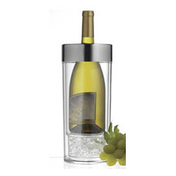 PRODYNE - Acrylic Wine Cooler - No more whining about losing the perfect temp on your chilled white wine. Here is a cooler cooler, ready for your favorite varietals. Put cubed or crushed ice in the bottom and cover with the vented grate. It surrounds your chilled bottle with cool air to keep it just right for hours.