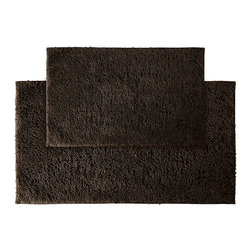 None - Grace Chocolate Cotton Bath Rug Set of 2 - Add a gracious note of comfort to the bath or shower with the Grace Cotton collection of bath runners and rugs. The soft loop pile of these two brown rugs is 100-percent cotton and the classic design blends with any decor.