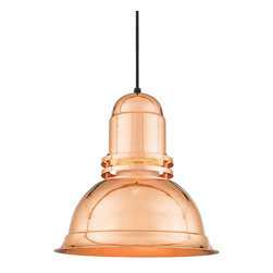"""THE LIGHTHOUSE COPPER & BRASS CORD-HUNG CEILING LIGHT - 16"""" Lighthouse shown in 44-Polished Copper with Clear Ribbed Globe & Black Cord"""