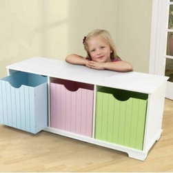 Nantucket Storage Bench, Pastel - This bench is an awesome place to sort toys.