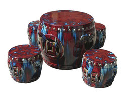 Golden Lotus - Set/Five Pieces Chinese Clay Multiple Colorful Round Garden Tea Table - This is a Chinese garden table set which is made of clay.  You can use it for drinking tea or play chess at your garden.  Particularly, it comes very nice multiple colors and it will be beautiful to decorate your back yard or garden.