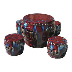 Golden Lotus - Chinese Clay Colorful Garden Tea Table and Stools, 5 Pieces - This is a Chinese garden table set which is made of clay.  You can use it for drinking tea or play chess at your garden.  Particularly, it comes very nice multiple colors and it will be beautiful to decorate your back yard or garden.