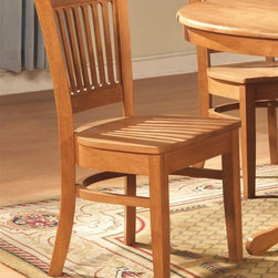 East West Furniture - Vancouver Side Chair - Set of 2 - Set of 2. Made from Asian rubber solid wood. Oak finish. Assembly required. Seat height: 18 in.. 17 in. W x 16.5 in. D x 35.5 in. H (33 lbs.)
