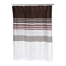 """Christina"" Fabric Shower Curtain - ""Christina"" Fabric shower curtain, 100% polyester, size 70""x72"". With its blend of light and dark on a striped pattern, our ""Christina"" Shower Curtain helps create a soothing space to bathe and relax. Made to fit standard-sized bathtubs or showers (curtain measuring 70'' w x 70'' l), ""Christina"" is made with a 100% polyester, machine-washable fabric that is both durable and water resistant. In addition, an accompanying ""Christina"" window curtain is available separately, allowing you to coordinate your bathroom with ease.   Machine wash in warm water, tumble dry, low, light iron as needed"