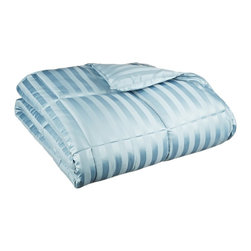"Down Alternative Wide Stripe Full Queen Comforter - Smoke Blue - Keep warm this winter while not being weighed down in the summer with this All-Season Striped Down Alternative Comforter. Made of naturally hypoallergenic microfiber, this comforter feels like down and will help you drift off into a restful sleep. Dimensions: 88"" x 90"" - Fill Weight: 77 ounces."
