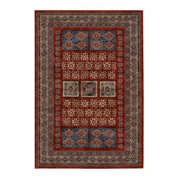"""Couristan - Timeless Treasures Royal Kazak Rug 4307/0300 - 4'6"""" x 6'6"""" - Because these area rugs contain such exquisite detail, other patterns showcased in your room-setting should be represented on a smaller scale. Choose a secondary color found in your area rug and complement it with your wall paint or use pillows and fabrics that are similar. Layering colors and textures makes your interior decor feel cohesive and well thought out."""