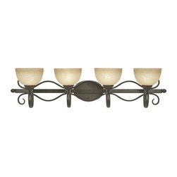 Golden Lighting - Riverton PC 4-Light Bath Fixture in Peppercone - Bulbs not included. Traditional style. Requires four 100 watt medium incandescent Type A bulbs. Sophisticated wide linen swirl glass shade. Can be mounted with the glass facing up or down. Oval arm shape. Provides a well diffused light over a vanity or mirror for grooming. Black and white wire gage. Four E27 type sockets in porcelain white. Electric wire gage: 3321 18# 150 degree C. Maximum wattage: 100W. Total wattage: 400W. UL and CUL certified. UL listed damp location for use in bathroom or under an eave. Made from metal and glass. Wire length: 8 in.. Fixture extension: 9.25 in.. Backplate extension: 0.75 in.. Backplate: 8 in. W x 5.37 in. H. Glass: 7 in. Dia. x 4.25 in. H. Overall: 40 in. W x 10 in. H (12.79 lbs.). Assembly Instructions. Warranty