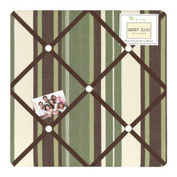 Sweet Jojo Designs - Ethan Fabric Memo Board - The Ethan Fabric Memo Board with button detail is a great way to display photos, notes, and postcards on your child's wall. Just slip your mementos behind the grosgrain ribbon to create an engaging piece of original wall art. This adorable memo board by Sweet Jojo Designs is the perfect accessory for the matching children's bedding set.
