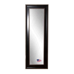 Rayne Mirrors - American Made Black / Silver Caged Trim 23.75 x 62.75 Slender Body Mirror - Add new depth to your decor with this appealing full length mirror design.  Its deep black frame with a raised outer border of silver detailing adds a modern or transitional style accent.  Each Rayne mirror is hand crafted and made to order with from American products.  Each Rayne mirror is hand crafted and made to order with American products.  All hardware included for vertical or horizontal hanging, or perfect to lean against a wall.