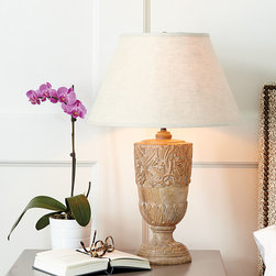 "Ballard Designs - Sophia Table Lamp - Crafted of wood. 3-way switch. Clear cord. The intricate design of flowing vines and acanthus leaves of our Sophia Table Lamp are hand carved from natural solid wood and hand finished to bring out every beautiful detail. Because it's handmade, each base is unique. We paired this lamp with our Cream 18"" Couture Empire Lamp Shade or create your own look by combining the lamp base with any of our endless shade options.Sophia Table Lamp features: . . ."
