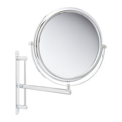 Jerdon JP3030CF 9-Inch Two-Sided Swivel Wall Mount Mirror with 3x Magnification - The Jerdon JP3030CF 9-Inch Two-Sided Swivel Wall Mount Mirror is used in luxury hotels and spas because of its convenience, sleek look and magnification. This two-sided circular mirror has a 9-inch diameter and features a smooth 360-degree swivel design that provides 1x and 3x magnification options to make sure every detail of your hair and makeup are in place. The extension arm and smooth rotation adjusts to all angles for a dynamic point of view. The JP2028G extends 8.5-inches from the wall and can be easily moved around, while still being firm enough to hold for odd angles. This mirror has an attractive chrome finish that protects against moisture and condensation and is designed to be wall mounted. This item comes complete with mounting hardware. The Jerdon JP3030CF 9-Inch Two-Sided Swivel Wall Mount Mirror comes with a 1-year limited warranty that protects against any defects due to faulty material or workmanship. The Jerdon Style company has earned a reputation for excellence in the beauty industry with its broad range of quality cosmetic mirrors (including vanity, lighted and wall mount mirrors), hair dryers and other styling appliances. Since 1977, the Jerdon brand has been a leading provider to the finest homes, hotels, resorts, cruise ships and spas worldwide. The company continues to build its position in the market by both improving its existing line with the latest technology, developing new products and expanding its offerings to meet the growing needs of its customers.