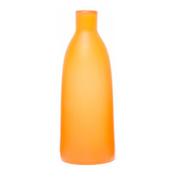 Contemporary Decorative Vase Bottle, Matte, Saffron - Beautiful decorative vase bottle made out of blown glass, perfect decoration piece for any style of room in any room of your home!  Contemporary glass vase can store any decoration flower or be used as a standalone.  Can be used as contemporary vase, modern vase, contemporary bottle, modern glass bottle, decorative vase, modern decoration, contemporary art piece, or modern art piece.  Glass bottle comes in Olive Green, Saffron, Aubergine, Blue, and Gray colors.