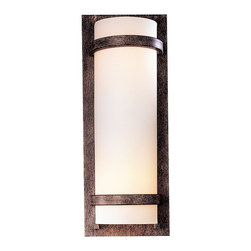 "Minka Lavery - Contemporary Contemporary Iron Oxide Wall Sconce - This stylish wall sconce has a rich iron oxide finish frame and encases etched opal glass that emits a warmly flattering light. ENERGY STAR® rated. Includes two 13 watt CFL bulbs. 6 5/8"" wide. 17"" high.  Iron oxide finish.  Etched opal glass.  ADA compliant wall sconce.  Includes two 13 watt CFL bulbs.  6 5/8"" wide.  17"" high.  Extends 4"" from the wall."