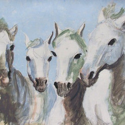 Four White Horses (Original) by Heidi Lb Studio - This piece was inspired by the beauty and freedom of the horse.