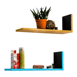 Blancho Bedding - [Round Dot] Yellow & Blue L-Shaped Leather Shelf / Floating Shelf (Set of 2) - These beautifully crafted L Shaped Wall Shelves display the art of woodworking and add a refreshing element to your home. Versatile in design, these leather wall shelves come in various colors and patterns. They spice up your home's decor, and create a multifunctional storage unit for all around your home. These elegant pieces of wall decor can be used for various purposes. It is ideal for displaying keepsakes, books, CDs, photo frames and so much more. Install as shown or you may separate the shelves to create a layout that suits your taste and your style. Each box serves as a practical shelf, as well as a great wall decoration. Each measures approx. 19.3(W) x 6.7(H) x 5.9(D) inches, Thick: 0.6 inches.