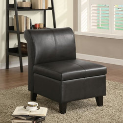 Coaster - Brown Casual Accent Chair - Practicle meets style! This dark brown chair featuring lift top for additional storage.