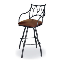 "Mathews & Company - Large South Fork 30"" Swivel Bar Stool - The new Large South Fork 30"" Swivel Bar Stool with Arms features a Rustic style, perfect for your breakfast nook, kitchen or dining room, bar area or recreational room.. A more detailed overview is on its way, however, you will get all the important specifications below. This item is available to order. If you have any question or would like some customizations please give us a call or send us an email we are happy to help. Pictured in Leather upholstery and Black finish."