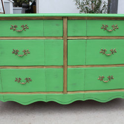 Vintage French Provincial 6-Drawer Dresser, Green by Wood Remains - I have a bureau in a similar shape, and I'd love to make it over in this green color paired with brassy golds. I love how this dresser has a more French provincial style, and its green shade could work in many spaces.