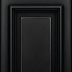 """KraftMaid: Maple Door in Onyx - Full overlay maple door with a square solid-raised center panel. The solid-wood frame has 2-5/8"""" stiles and rails. Finished in Onyx paint."""