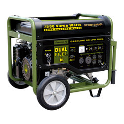 New Buffalo Corp. - 7500 Watt Dual Fuel Generator - Great for running the RV while out on the road, or for keeping essential appliances going during a power outage, the Sportsman Series Dual Fuel Generator has the power and flexibility to handle the task. This generator runs on either unleaded gasoline or propane gas, so you can use whichever fuel is more easily available or affordable at the moment. With the Sportsman Series 7500 Watt Dual Fuel Generator, you get the long lasting, clean burning advantage of propane gas, plus the familiar and easy to find benefits of unleaded gasoline.