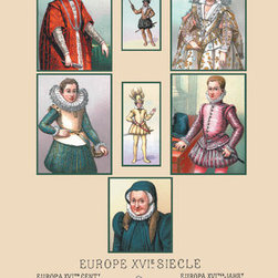 Buyenlarge - Assorted Portraits of Sixteenth Century Europeans 12x18 Giclee on canvas - Series: Medieval Costume