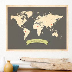 World Roots Map Customized Print, Brown by Global Child Collection - I think this is a sweet nod to your ancestry. It would look great hung in a child's room.