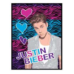 Lady Sandra Home Fashions Inc - Justin Bieber Zebra Print Hearts Large Plush Bed Blanket - Features: