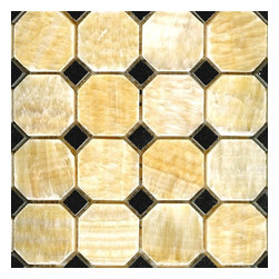 "Honey Polished Octagon Pattern Mesh-Mounted Onyx Tile - 2"" x 2"" Honey Mesh-Mounted Octagon Pattern Onyx Mosaic Tile .6 in. Black Dot Insert is a great way to enhance your decor with a traditional aesthetic touch. This polished mosaic tile is constructed from durable, impervious onyx material, comes in a smooth, unglazed finish and is suitable for installation on floors, walls and countertops in commercial and residential spaces such as bathrooms and kitchens."
