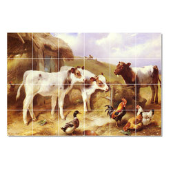 Picture-Tiles, LLC - Calves Chicken And A Duck Tile Mural By Walter Hunt - * MURAL SIZE: 32x48 inch tile mural using (24) 8x8 ceramic tiles-satin finish.