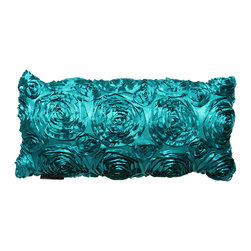 Brandi Renee Designs - Teal Silk Ribbon Rose Pillow - Life is like a bed of roses with this luxurious pillow. Not your typical accent piece, it's the perfect accessory to liven up any interior. Placed on a couch or tossed in with bedding, the silky smooth, teal fabric is sure to make a colorful statement in any room. The polyfill insert provides a generous amount of support and comfort. The gorgeous ribbon-rose ornamentation has a unique texture that lends visual intrigue, while the lustrous casing has a soft sheen that will instantly brighten your space. There's nothing like bright colors and florals - it's the best of both worlds. You can bet this flowery cushion will make an elegant, yet modern finishing touch to any living space.