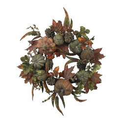 "24"" Pumpkin and Gourd Wreath - A west-coast twist on a treasured holiday classic, this 24 "" wreath is bursting with the spoils of a traditional Autumn harvest. With gourds and small pumpkins adorning the multihued ""leafs, berries, and twigs "" backdrop, this eye-catching offering is perfect for adding that ""touch of Fall "" to your holiday decor. Plus, it'll stay ""fresh "" for years to come. Height= 24 in x Width= 24 in x Depth= 5 in"