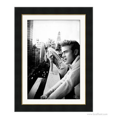 Marilyn Monroe & James Dean 'New York' 2011 Art Print - Much like our silver-screen icons, New York City skyline never quite loses its luster. Anashé Hart's foray into digital art served as a peer-evaluated concept piece to commemorate Marilyn Monroe's birthday, featured on DeviantART in June of 2011. Showcasing a contemporary juxtaposition with 72 digitally rendered image layers. The original rooftop image of Marilyn Monroe and James Dean smoking together in the urban cityscape of New York quickly turned into an online photo-sharing sensation. Contemporary artworks published by Brailliant are designed for today, and reflect the great attention to style and old Hollywood glamour.