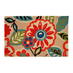 Homefires - Pretty In Pink Rug - Molly Ringwald might fancy this stylish rug with bold red, oversized flowers and leaves. The dusty rose pink background makes for a unique color combination that's sure to accent your special nook, bedside or entryway.