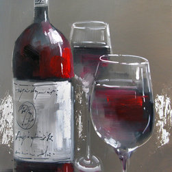 None - Yosemite Home Decor 'Wine and Two Glasses' Cotton Canvas - Title: Wine and Two Glasses IIIProduct type: Wooden frame wrapped with canvasFormat: Rectangle