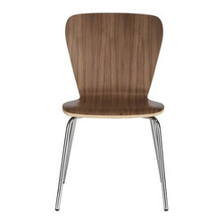 Felix Walnut Side Chair - Classic bentwood seating to mix, match and stack at a value. Retro modern hourglass shape curves with a generous seat and back in a versatile walnut finish; sturdy chrome-plated tube legs.