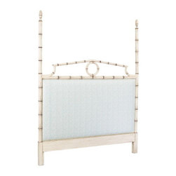 Luxury Custom Made Beds - A lovely faux bamboo headboard, availabla in custom fabric and custom finishes.   Please call us to discuss your inquiry