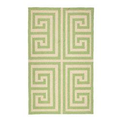 "Green Greek Key Hook Rug 3X5"" - GREEN GREEK KEY HOOK RUG 3X5"""