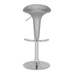 """Safavieh - Sibyla Barstool - Don't be deceived by its graceful form. The Sibyla Lift Barstool does all the heavy lifting with its textured lily-shaped 360-degree swivel seat of silver ABS. With chrome base and footrest, plus adjustable seat height from 23.2"""" to 31.7"""", Flynn is the epitome of industrial chic style."""