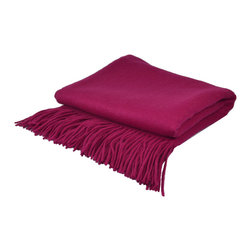 "Pur by Pur Cashmere - Signature Blend Throw Magenta  50""x65"" With 6"" Fringe - Signature cashmere blend throw 10% cashmere / 80% wool / 10% microfine Dry clean only. Inner mongolia."