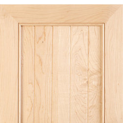 """Mitered cabinet door with v-groove panels in Select Hard Maple - Mitered cabinet door in Select Hard Maple with M15 frame and 3/8"""" thick solid, flat wood panel with v-grooves."""