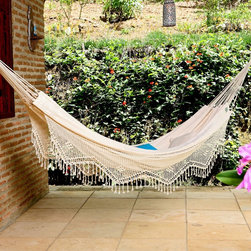 XL Brazilian Fabric Hammock with Fringe - Rest and relaxation are of the utmost priorities for my camp-at-home experience. Naturally, a gorgeous hammock is essential.