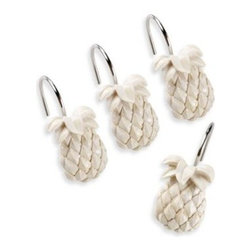 Tommy Bahama - Tommy Bahama Pineapple Shower Curtain Hooks (Set of 12) - Send a charming sign of welcome and hospitality with the Tommy Bahama Pineapple Shower Curtain Hooks. These lovely resin hooks are shaped like three-dimensional pineapples.