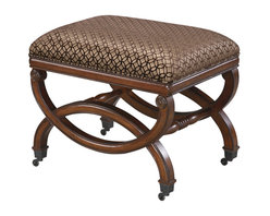 Sterling Industries - Sterling Industries 6070744 Da Vinci Bench - Classic Single Person Bench With Beautiful Carved Base And Bronze Casters. The Cushion Is Upholstered In Burgundy Velvet, With Antique Gold Pattern Stamped On The Fabric. The Base Is Finished In An Antique Fruitwood Finish.   Bench (1)