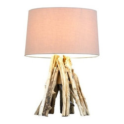 "Scandinavian Design - Natural Bleached Teak Lamp - This lamp is absolutely magnificent, made of reclaimed bleached teak sticks that were hand picked and put together to make the nice design. The Base is 11"" wide and 13"" tall The shade is 13.5 wide,8.5 tall and 12.5 deep The whole lamp is 23"" tall"