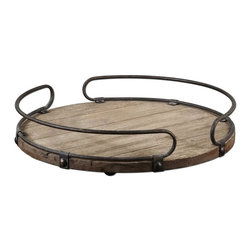 Matthew Williams - Matthew Williams Acela Decorative Tray X-72791 - Natural fir wood base with aged metal details.