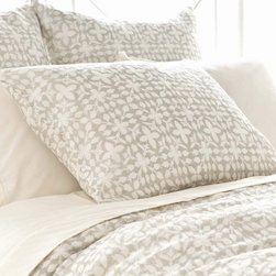Pine Cone Hill - PCH Veena Gray Pillow Sham - Inspired by an artistic block print, the Veena pillow sham lends a touch of global glamour. Its geometric floral pattern boasts the chic yet casual style in ash gray and white. Available in standard and euro; 100% cotton; Tie closure; Designed by Pine Cone Hill, an Annie Selke company; Machine wash