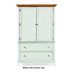 "American Drew 181-250WM Door Chest- White w/ Maple Top Sterling Pointe - Door Chest- White w/ Maple Top - American Drew Sterling Pointe Collection 181-250WMAmerican Drew Sterling Point Door Chest is a multifunctional spacious door chest. It is always wonderful to have door chest that provide ample storage. You can use it for placing cloth or can use it as entertainment center. Sterling Point Door Chest has simple traditional style. Beautifully fit in any home. Designed with two wraparound doors one adjustable shelf one fixed shelf two tray drawers Slide out back panel electrical receptacle two drawers at base and all knobs are made of wood and nickel knobs. Eight different finishes are available: Black with maple top MODEL#181-250BM)White with maple top (MODEL#181-250WMli>Cherry with cherry hardware (MODEL#181-250C) White with cherry top and cherry hardware (MODEL#181-250WC)White with white hardware (MODEL#181-250W) Black with cherry top and cherry hardware (MODEL#181-250 BC)Maple with maple hardware (MODEL#181-250M) Black with black polished hardware (MODEL#181-250B) Features:4 Door1 Adjustable Shelf4 Tray DrawersSlideout Back PanelElectrical Receptable2 Drawers at BaseThis Price Includes:Door Chest- White w/ Maple TopItem:Weight:Dimensions:Door Chest- White w/ Maple Top235 lbs42"" W X 21"" D X 66"" HManufacturer's Materials:Maple and Hardwood SolidsMaple & Poplar Veneers & Simulated Wood Components"