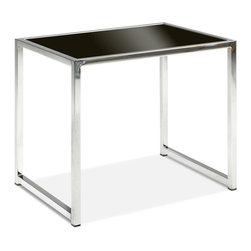 Ave Six - Chrome Colored End Table with Tempered Black - Both modern and memorable, this contemporary end table features a polished chrome tone steel frame paired with a sleek tempered glass top in deep black. The table will be a striking addition to your home's decor, and can be paired with optional coordinating items or used on its own for a sophisticated splash of style. Chrome and Black Glass finish. Durable chromed steel base. Tempered Glass top. Some assembly required. 22 in. W x 16in. D x 18.5 in. H (10 lbs.)