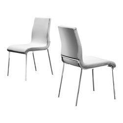 Creative Furniture - Fabiano Dining Chair in White (Set of 4) - The back and seat are upholstered in Eco-leather. The legs are made from chromed steel. The back of the chair is slightly curved to provide maximum comfort.